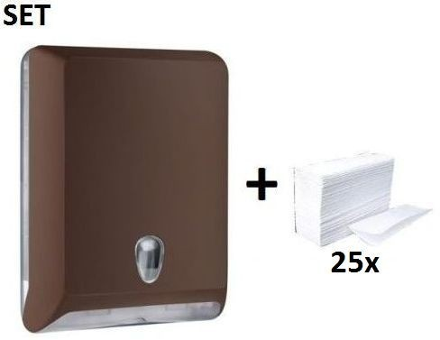 Plastic papertowel dispenser brown MP830 + papertowels SET by Marplast Marplast S.p.A. MP830,10102