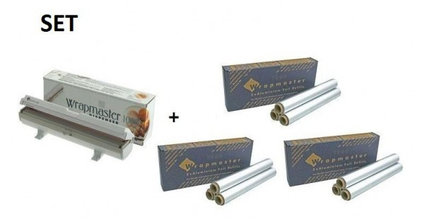 SET Wrapmaster WM1000 en 3 Dozen aluminumfolie met geteste legering nummer Wrapmaster 63M10,3x34C27