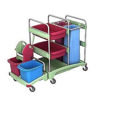 Splast antibacteri'le reiniging trolley met wringer, 2x 70l zak houders en plank Splast TSZA-0017