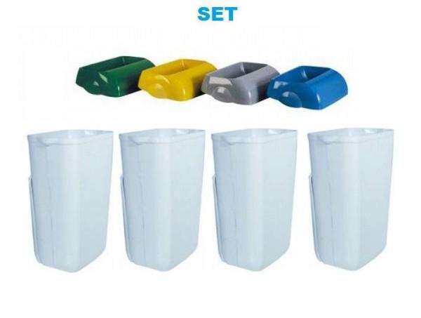 Waste separation SET '' Hidden '' - 4x Marplast waste bin 23L White + 4x Colored lid Marplast S.p.A. MP742,MP744