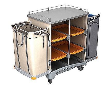 Splast hotel werkwagen met linnen zak 125l en afvalzak 125l met betrekking tot Splast TSH-0005