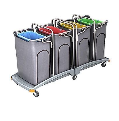 Splast grote plastic afval trolley met 4 zakhouders elk 120l Splast TSO-0015,TSO-0016