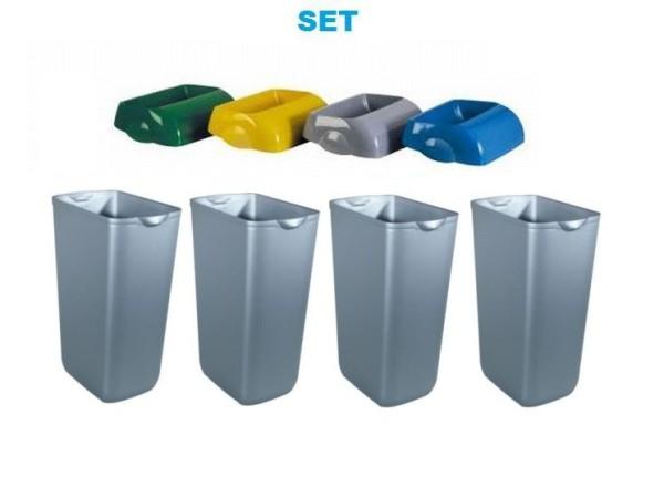 Waste separation SET Hidden 4x Marplast waste bin 23L Satin + 4x cover by Marplast Marplast S.p.A. MP742,MP742