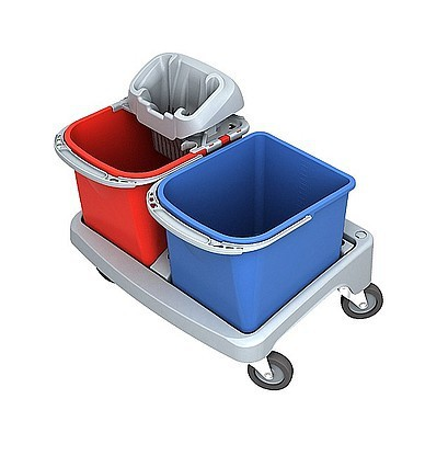 Splast plastic schoonmaak trolley met PIKO wringer en 2 emmers elk 20 l Splast TSSP-0001