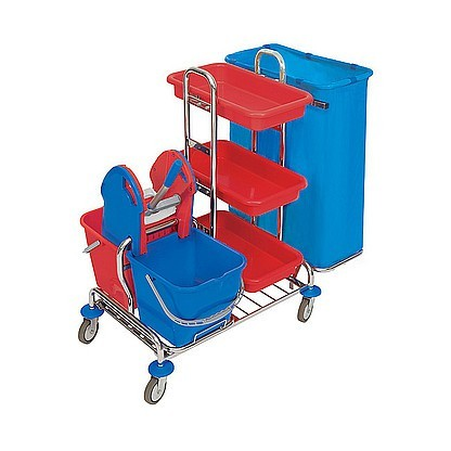 Splast chroom trolley met wringer en plank - zakhouder 1x 120l of 2x 120l Splast ZS-0001,ZS-0009