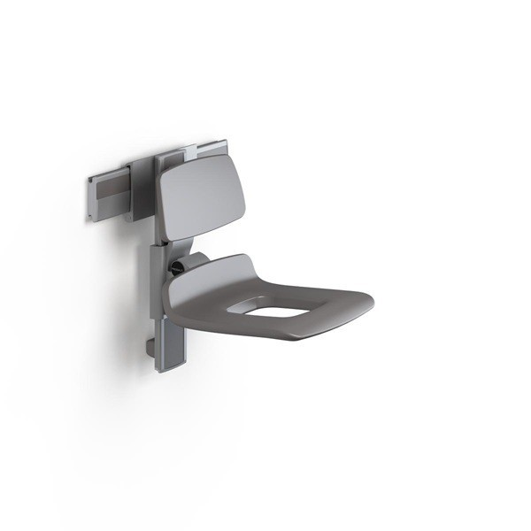 Pressalit manually adjustable shower seat with aperture and backrest - max. 300 kg Pressalit R7441112000,R7441112112