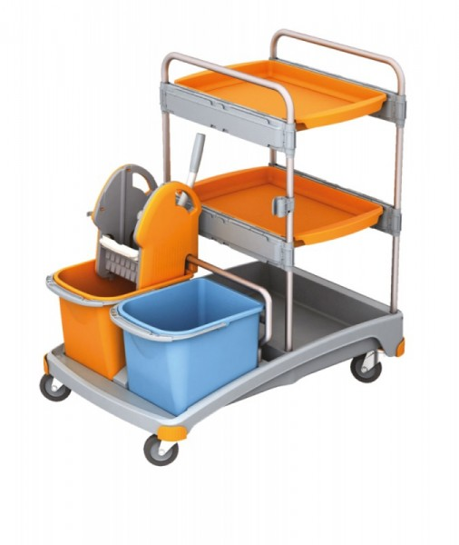 Splast werkwagen set met 2 trays, wringer, 2 emmers en een plastic basis Splast TSS-0013