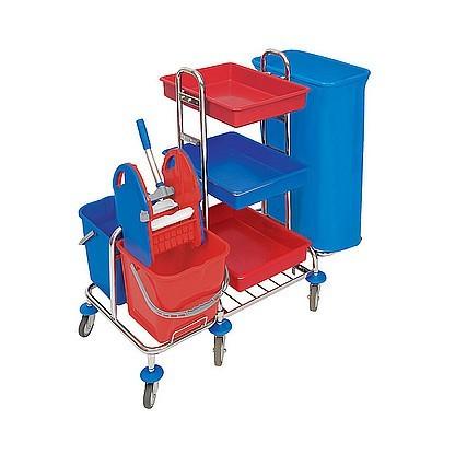 Splast chroom trolley met afvalzak houder, plastic bakjes, emmers en wringer Splast MID-0006