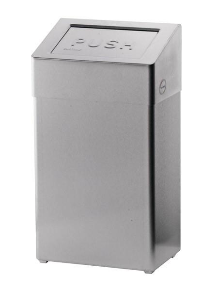 Gesloten RVS vuilnisbak met zelfsluitende klep 18 liter Ophardt Hygiene SanTRAL ABU - 1417450,1417451