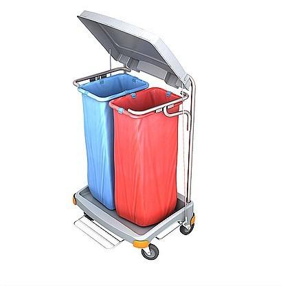 Splast dubbele afval trolley 2x 70l met pedaal en deksel - zijplaten optioneel Splast TSOP-0018,TS-0020