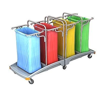 Splast afval trolley 4 x 120l met een kunststof voet - blauw, rood, geel groen Splast TSO-0013