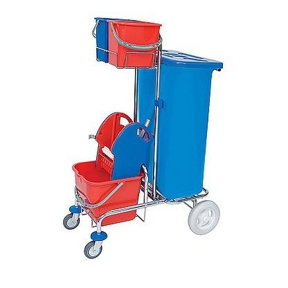 Splast chroom schoonmaak trolley met zakhouder incl. deksel 120l, wringer, emmers Splast SER-0002