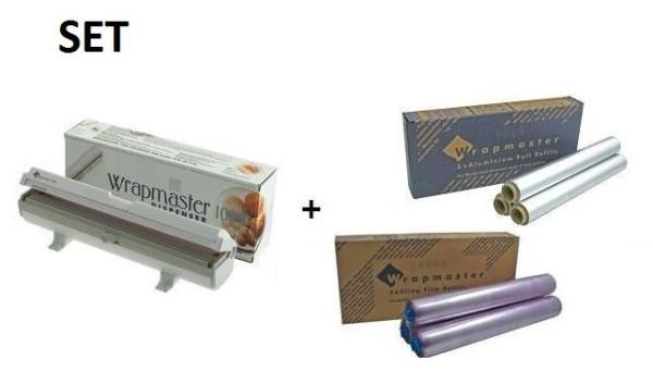 SET All in Wrapmaster 1000 dispenser en vershoud- evenals aluminiumfolie Wrapmaster 63M10,18C35,34C27