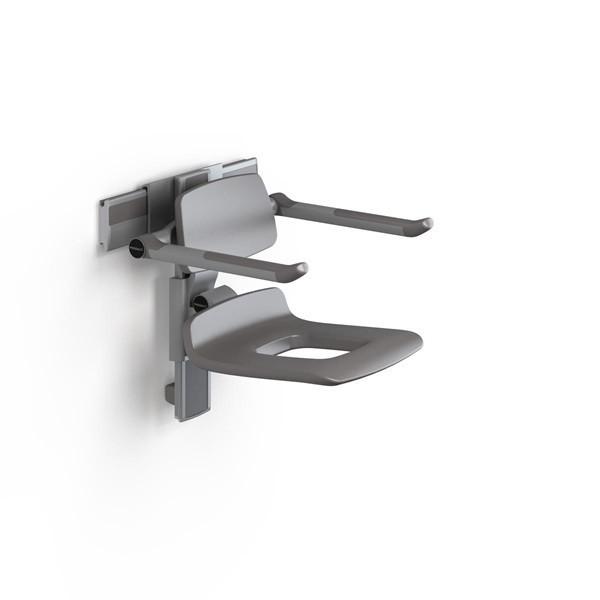 Pressalit manually adjustable shower chair with apertures, backrest and armrests Pressalit R7451182000,R745118112