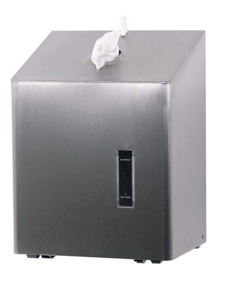 Dispenser voor papieren handdoek rol voor op tafel met uitname van het papier aan de bovenzijde Ophardt Hygiëne SanTRAL TCU 1 - 1417100,1417188