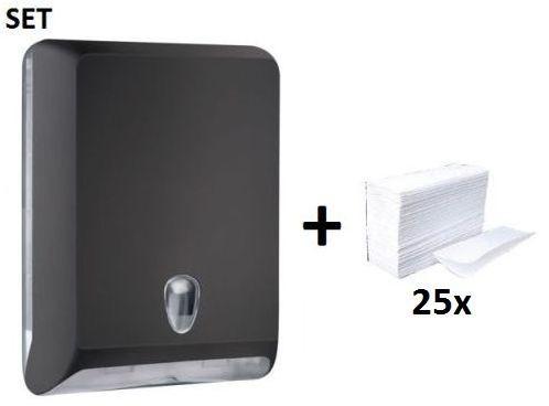 Papertowel dispenser MP830 in black made of plastic + papertowels by Marplast Marplast S.p.A. MP830,10102