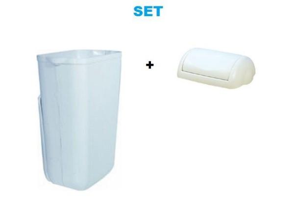 White plastic waste bin 23l MP742 + white waste bin lid SET by Marplast Marplast S.p.A. MP742,746