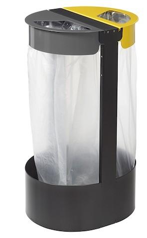 Staande vuiniszakkenhouder voor 2x75l afvalzakken gemaakt van gepodercoat UV-bestendig staal Rossignol 58797,58799
