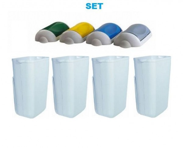 Waste separation SET ''Swing'' waste bin 23 liter white + 4x colored lids by Marplast Marplast S.p.A. MP742,MP746