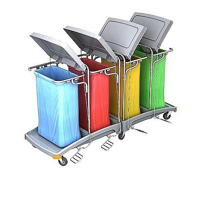Splast grote verspilling trolley 4x 120l met pedaal en deksels, zak die om optioneel Splast TSOP-0014,TSOP-0016