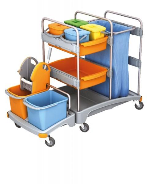Splast trolley met wringer, emmers, plank en afvalzakhouder met optionele dekking Splast TSZ-0021,TSZ-0022