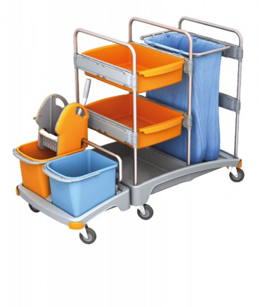 Splast mobiele plastic reinigingssysteem met wringer, emmers en afvalzakhouder Splast TSZ-0001