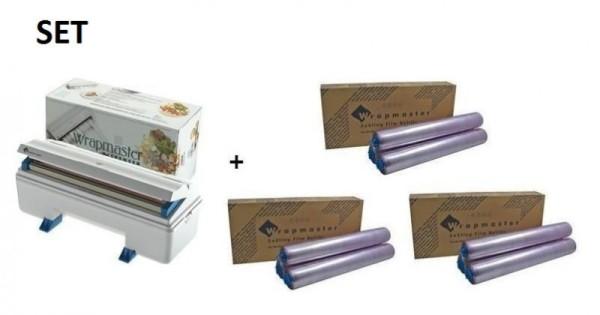 SET Efficient Wrapmaster WM3000 dispenser + 3 carton cling film of polyethylene Wrapmaster 63M90,3x18C14