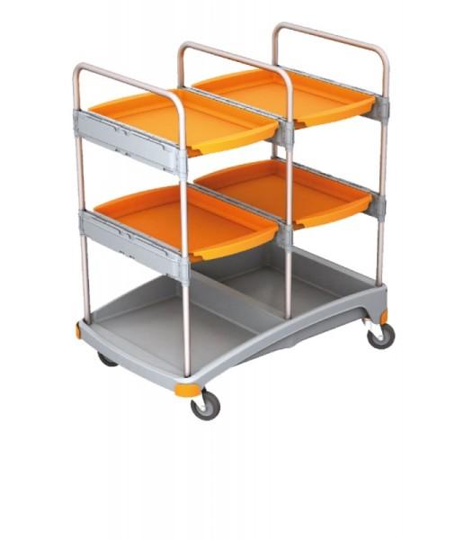 Splast werkwagen gemaakt van kunststof in grijs en oranje - met vier trays Splast TSZ-0016