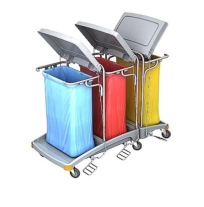 Splast afval trolley met 3x 120l zak houders en deksels - zijplaten optioneel Splast TSOP-0010,TSOP-0012