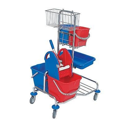 Splast chroom trolley met wringer, mand, dienblad en 4 plastic emmers - rood, blauw Splast SER-0006