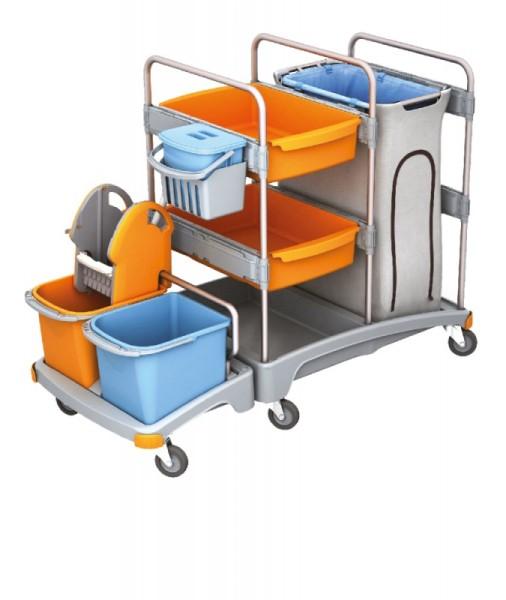 Splast plastic reinigingssysteem met 3 emmers, wringer, trays en afvalzakhouder Splast TSZ-0003