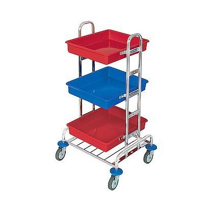 Splast chroom werkwagen met 3 kunststof bakken rood / blauw - zakhouder optioneel Splast MID-0004,MID-0005