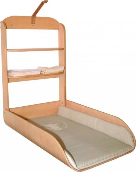 Design Babyverschoontafel inclusief matras - Gegoten hout, gedeeltelijk massief - Verticaal - Inklapbaar - 26016V105,26016F150