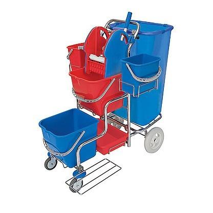 Splast chroom trolley met zakhouder 120l, wringer, lade en 4 plastic emmers Splast SER-0007