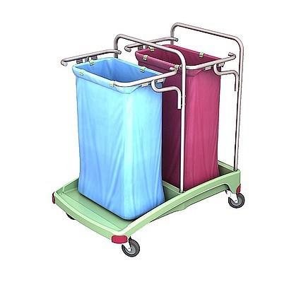 Splast antibacteri'le plastic afval trolley 2x 120l - rood, blauw, groen Splast TSOA-0005