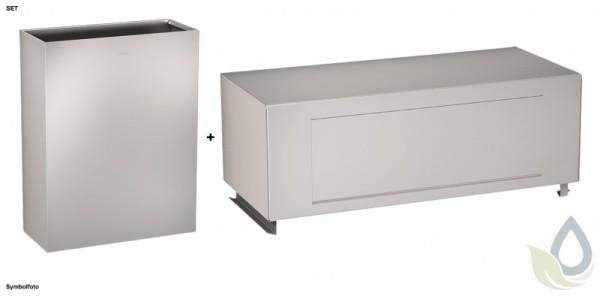 Klapdeksel en avfalbak SET voor wandmontage gemaakt van chroomnikkelstaal van Franke Franke GmbH RODX607,RODX608