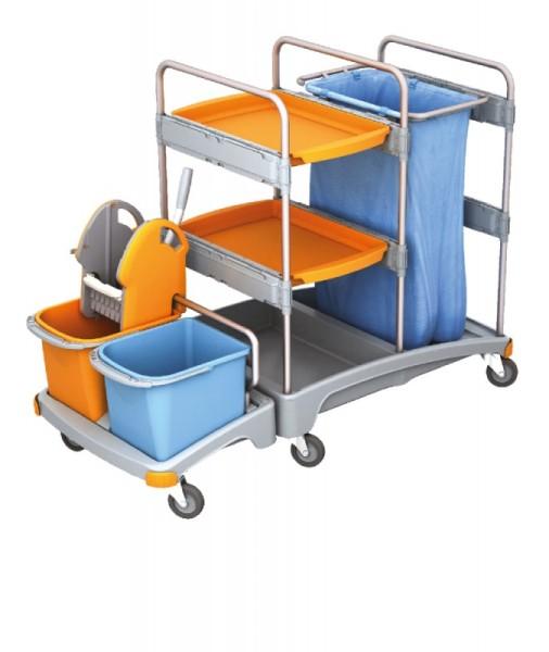 Splast plastic schoonmaak trolley met afvalzak houder, wringer, emmers en plank Splast TSZ-0006