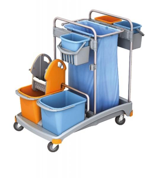 Splast werkwagen set met 5 emmers, plastic basis, zakhouder 120 l en wringer Splast TSS-0007