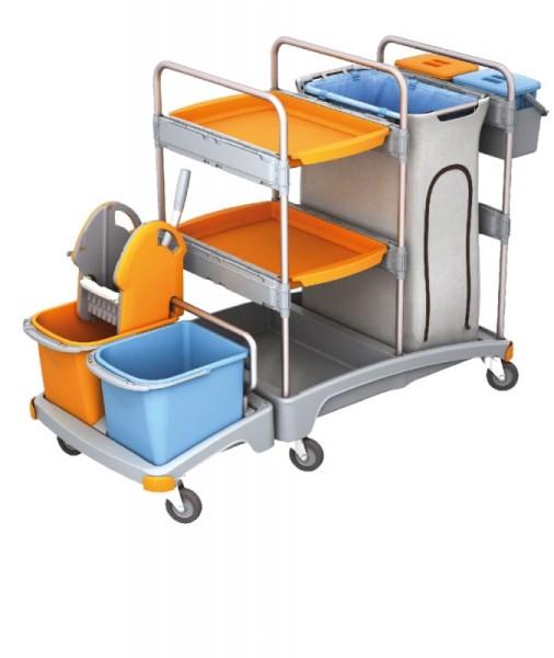 Splast plastic schoonmaak trolley - met 4 emmers, wringer, zakhouder en plank Splast TSZ-0007